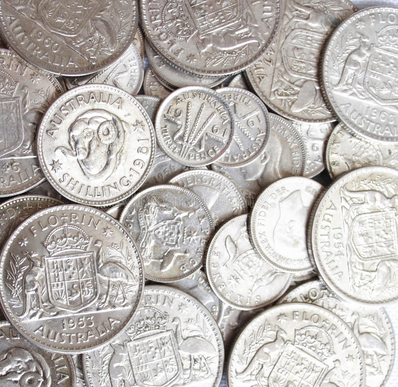 Free Lot Of Australian Predecimal Silver Coins Royalty Free Stock Images - 40340509