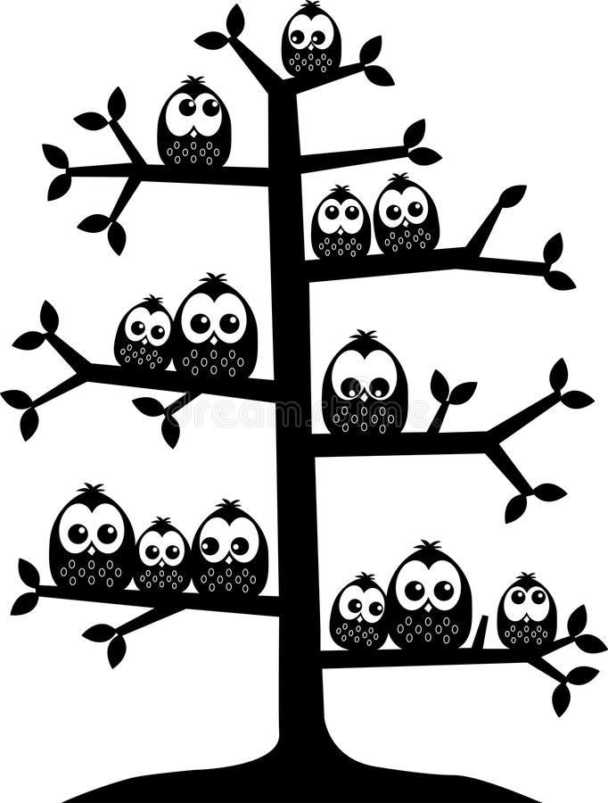 Lot of owls sitting in a tree royalty free illustration