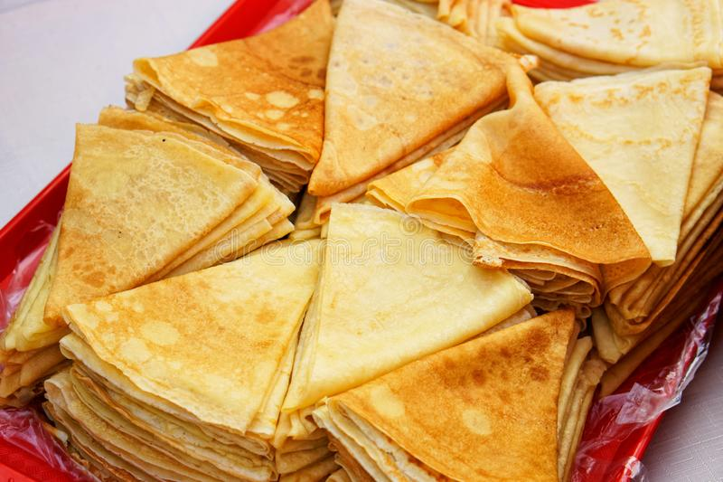 A lot of pancakes on the Slavic festival of early spring - carnival stock images