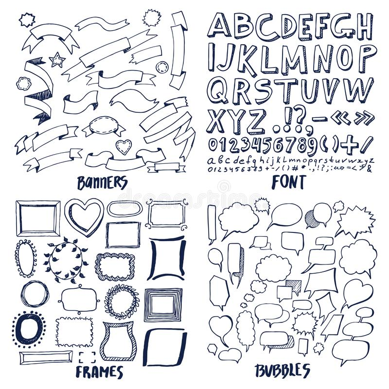 Lot Of Patterns Of Font Banners Frames And Bubbles Stock