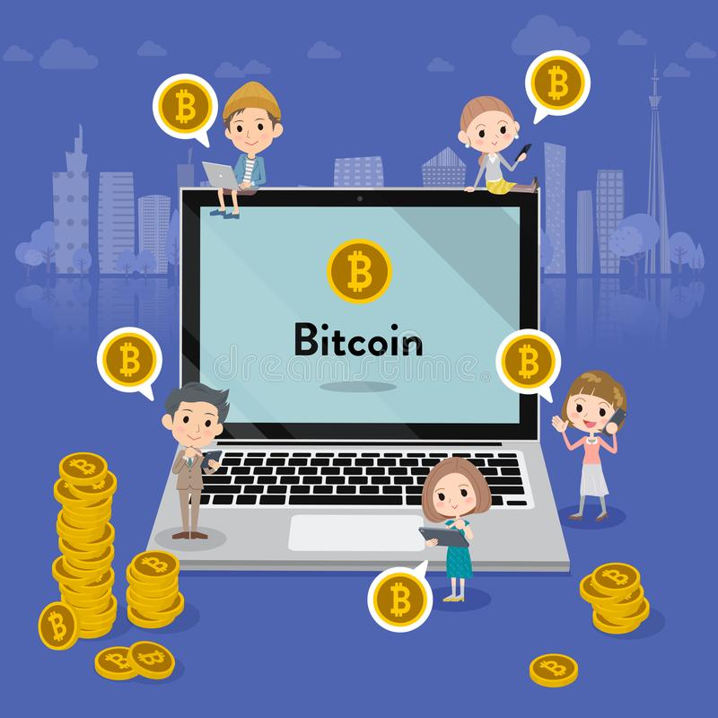 A lot of people and bitcoin stock illustration