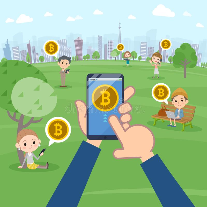 A lot of people enjoying bitcoin in the park vector illustration