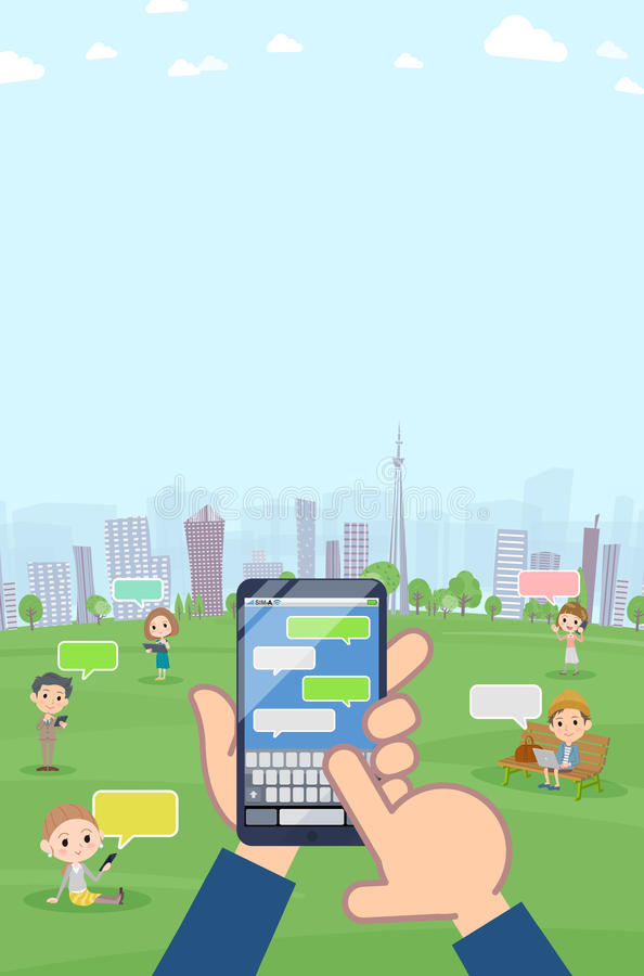 A lot of people enjoying SNS in the park Vertical size stock illustration