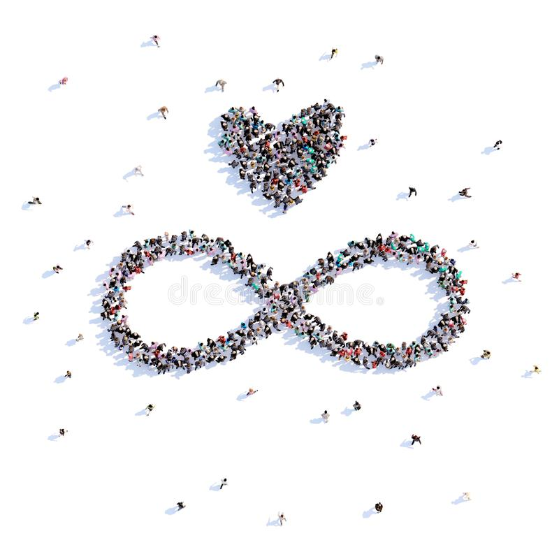 A lot of people form Endless love, love, icon . 3d rendering. royalty free illustration