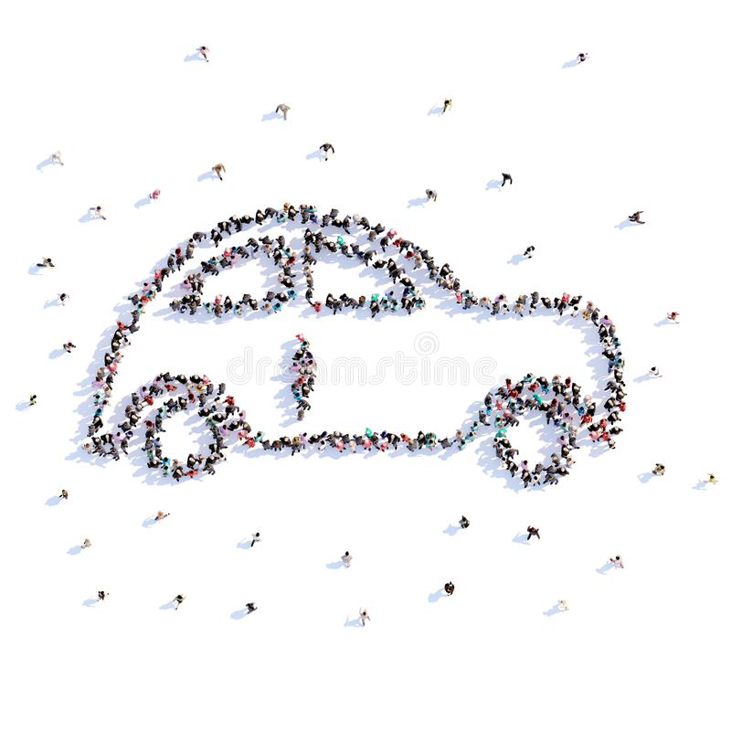 A lot of people form wedding car, love, icon . 3d rendering. stock illustration