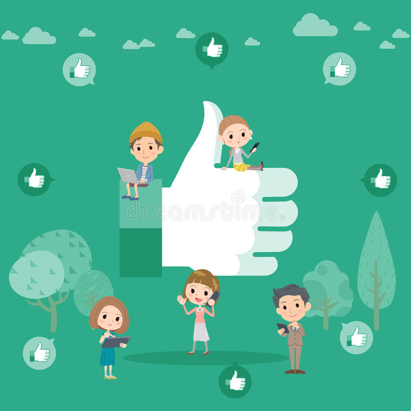 A lot of people and Up icon royalty free illustration