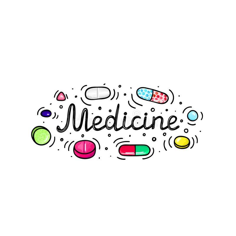 Lot Pillen und Kapseln r Gesunder Lebensstil r gekritzel vektor abbildung
