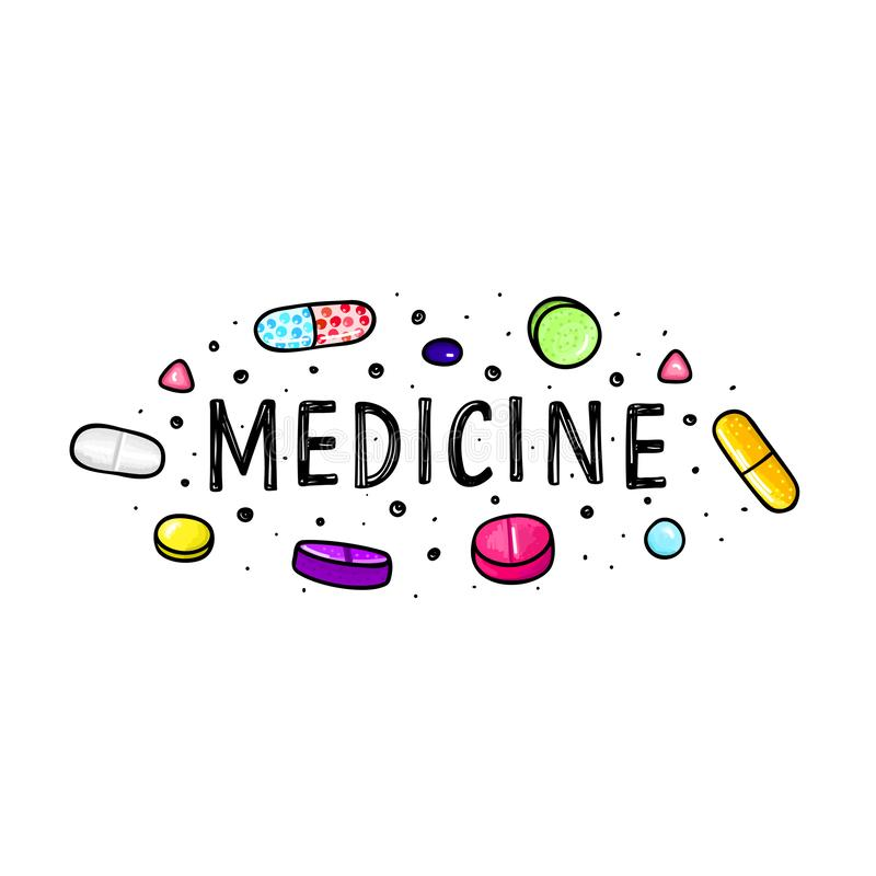 Lot of pills and capsules. Medicine or dietary supplements. Healthy lifestyle. Alcohol markers style. Doodle. Health and care. Design for clinics, hospitals royalty free illustration