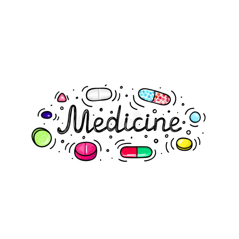 Lot of pills and capsules. Medicine or dietary supplements. Healthy lifestyle. Alcohol markers style. Doodle. Health and care. Design for clinics, hospitals vector illustration
