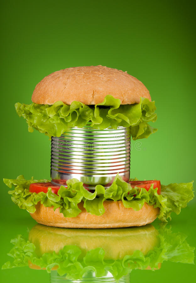Lot of preservatives added. Unhealthy canned fast food hamburger depicting concept of a lot of preservatives added on green stock images