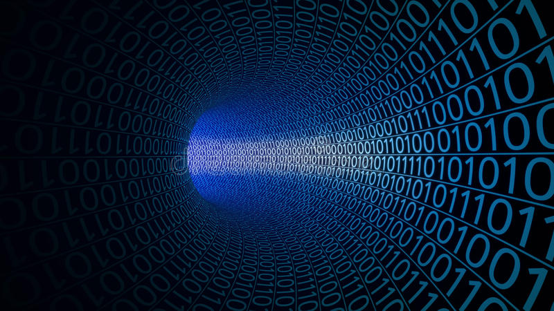 Lot przez abstrakcjonistycznego błękitnego tunelu robić z zero i ones nowoczesne tło Komputery, binarny transfer danych fotografia royalty free