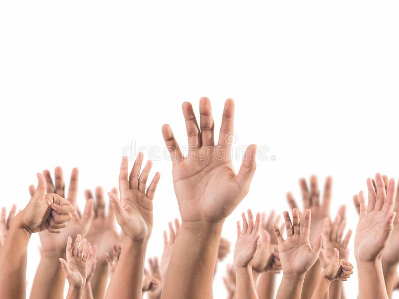 Lot of raising hand royalty free stock images