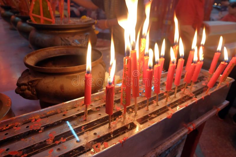 A lot of red candle. Fire candle to worship ancestors on Chinese New Year stock photos