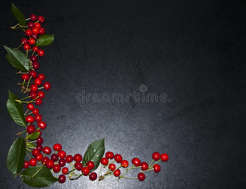 A lot of red cherries on a black background, a composition of be royalty free stock images