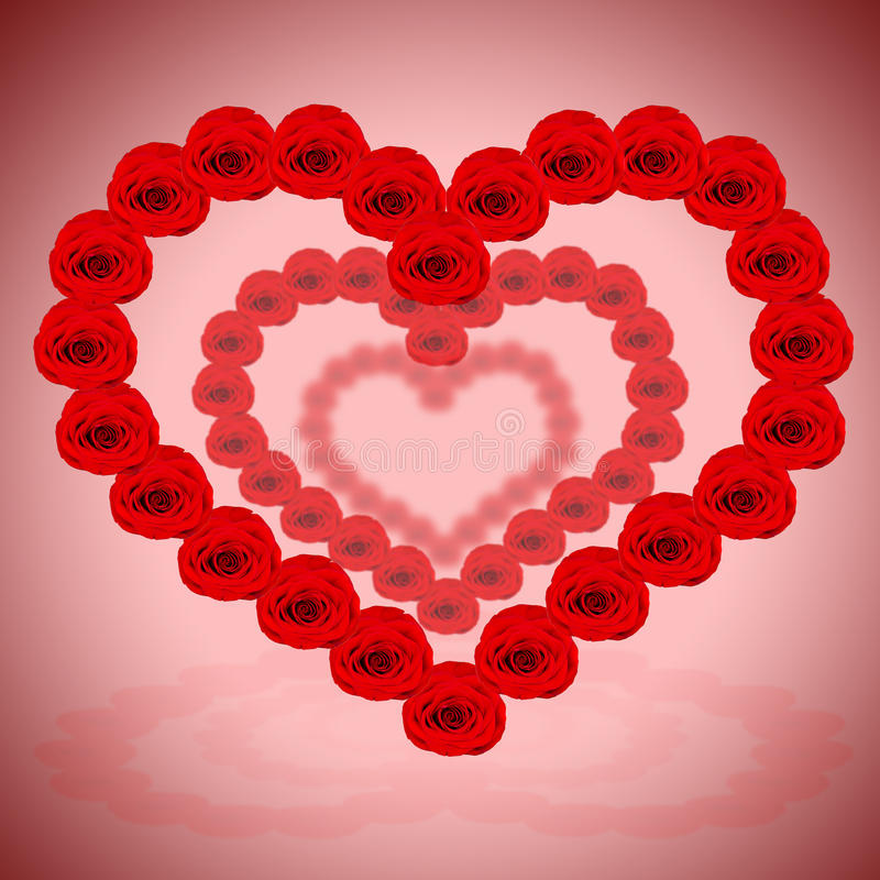 A lot of red hearts are made from roses stock photo