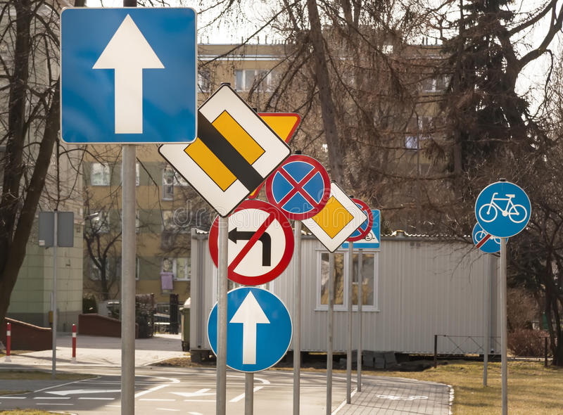 A lot of road signs. Roads of Warsaw royalty free stock photography