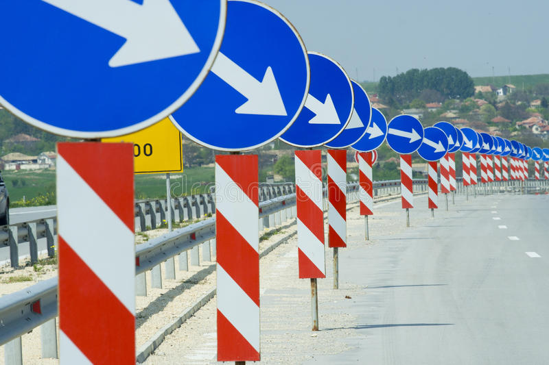 A lot of road signs. Showing directions stock photo