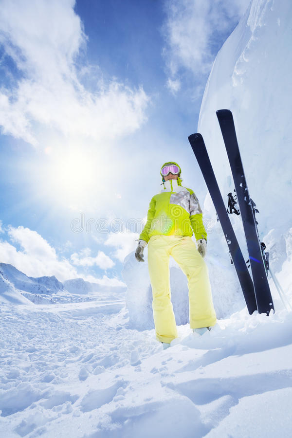 Lot's of snow is good for skiing stock photos