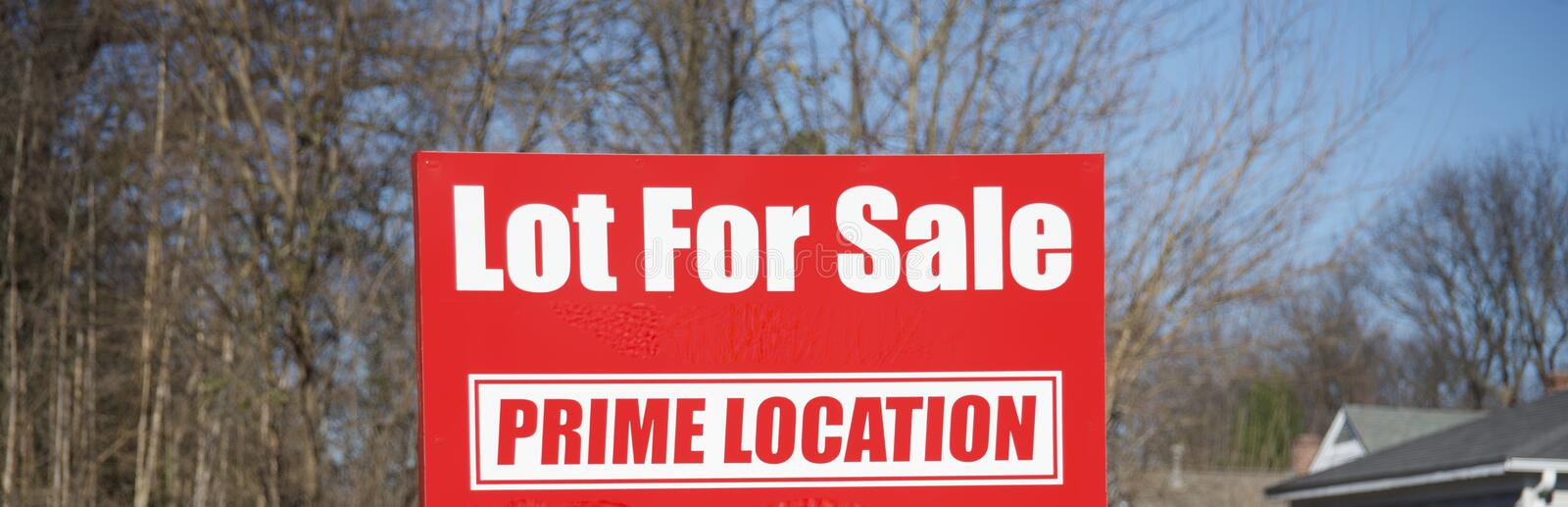 Lot for Sale in a Prime Location. A parcel of property or lot that has been placed on the real estate market to be sold at a profit or a long term lease or rent royalty free stock image