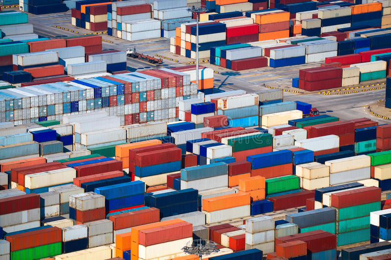 A lot of shipping containers. In shanghai sea port royalty free stock image