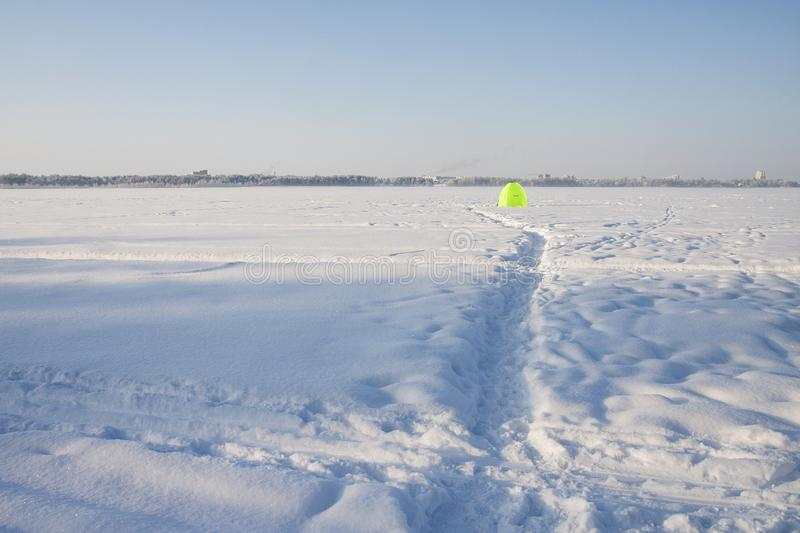 Very cold, even more colder. Lot of snow, winter mood and cold landscape. Bush is under the snow stock photography