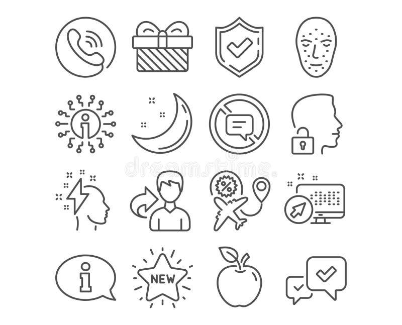Lot sprzedaż, twarzy biometria i Zatwierdza ikony Nowa gwiazda, znaki, informacji i Brainstorming wektor ilustracja wektor