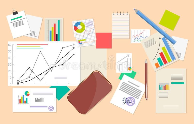 Lot of Statistic and Analytics Data, Vector Poster royalty free illustration