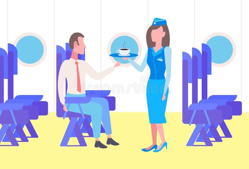 Lot stewardesy porcja pije biznesmena samolotowy pasażerski siedzący wygodny siedzenie podczas podróży służbowej nowożytnej royalty ilustracja