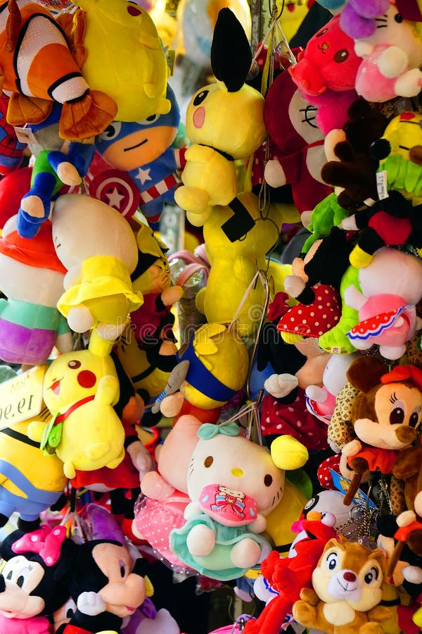 A lot of stuffed toys exposed for sale stock photos