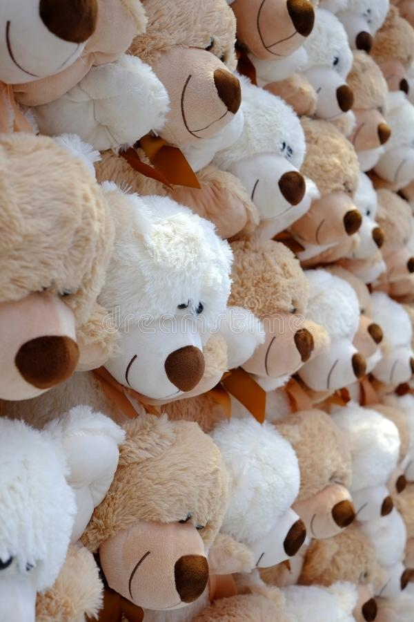 A lot of teddy bears. A nice gift on St. Valentine`s Day. stock photos