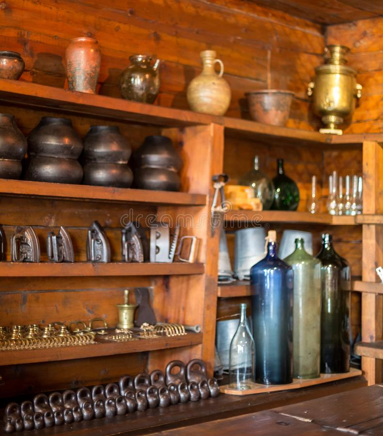 Lot of things in the junk shop Shushinskoe villsge, Russia royalty free stock photo