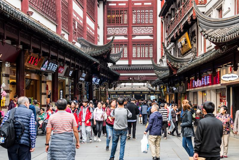 A lot of tourist at the shopping area of Chenghuang Temple City god temple a top tourist spot in shanghai china stock image