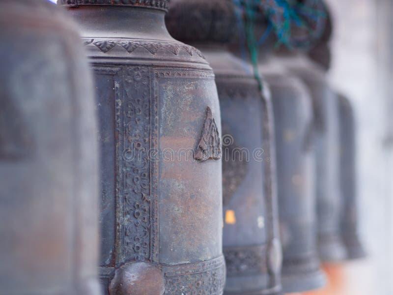 A lot of tradition asian bells at Wat Hua Lamphong in Samyan district, Bangkok, Thailand royalty free stock image