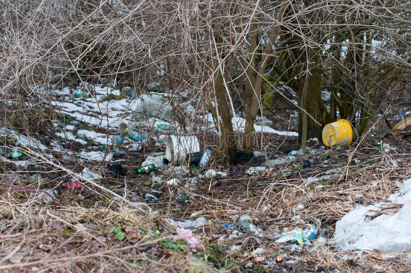 A lot of trash on the roadside, human negligence. In Romania stock photo