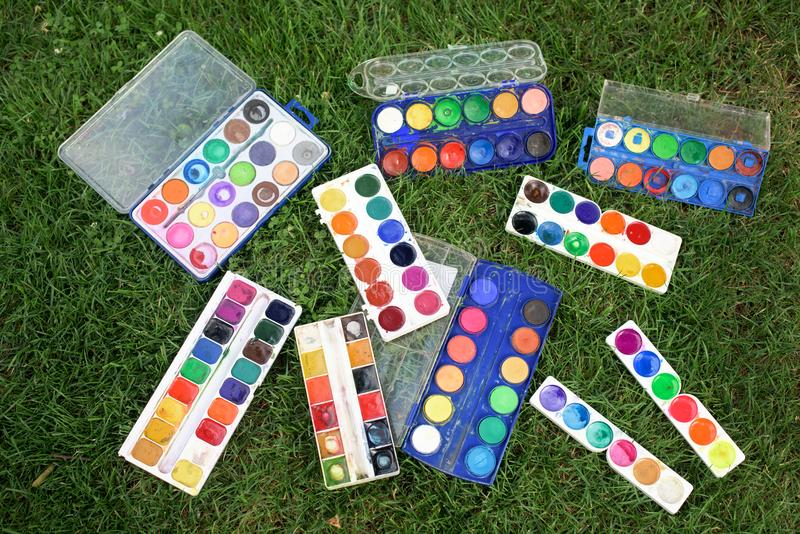 Used watercolors stock photography