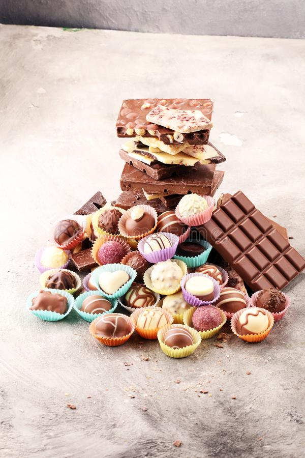 A lot of variety chocolate pralines, belgian confectionery gourmet chocolate. A lot of variety chocolate pralines, belgian confectionery gourmet chocolate stock image