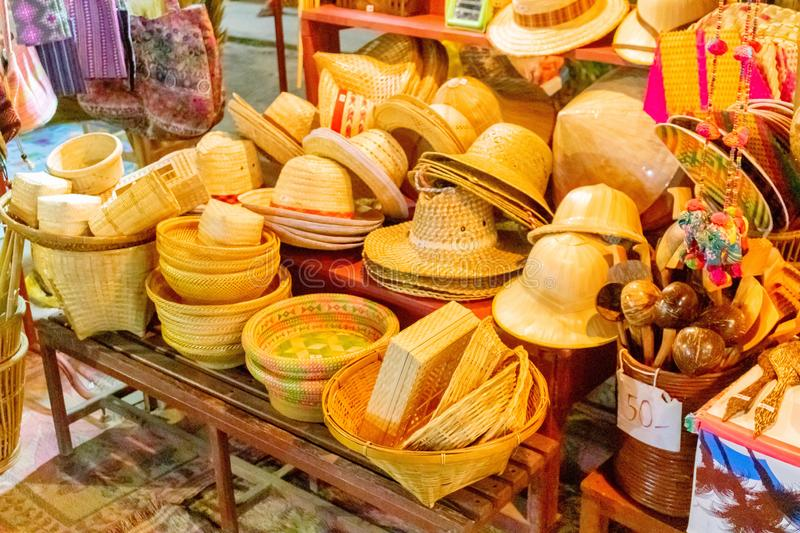 A lot of wicken hats for sale at Hua Hin street market, Thailand July 16, 2017 stock images