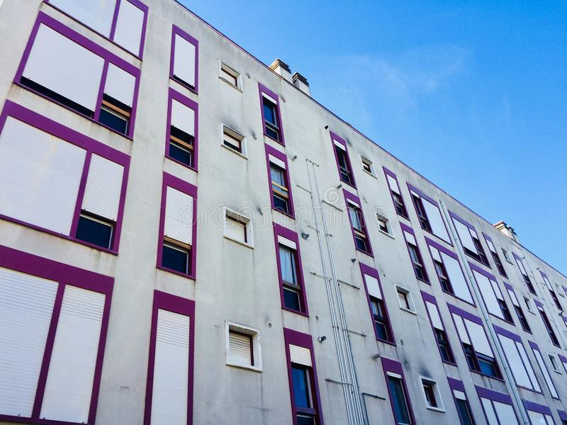 A lot of windows in the building facade. Pesaro, italy royalty free stock image