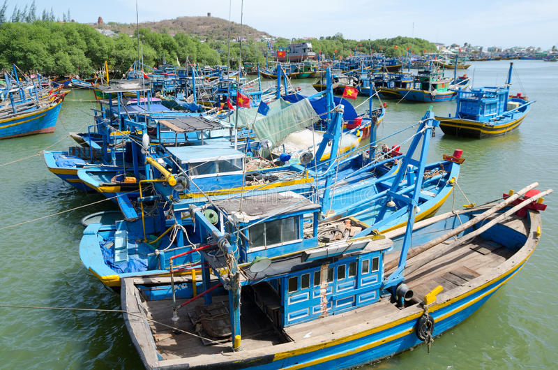 Download Fishing boats in Vietnam stock image. Image of east, southern - 30094969