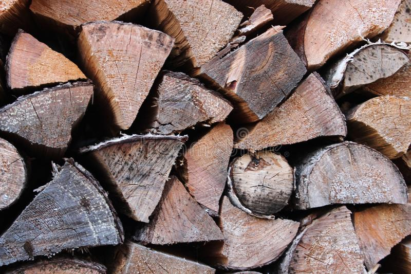 Wooden birch logs stock image