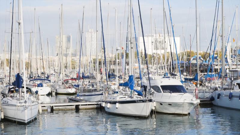 A lot of yachts in the port. Stock. Sailboat harbor, many beautiful moored sail yachts in the sea port, modern water royalty free stock photography
