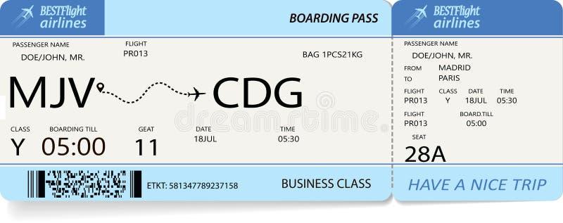 Lota bilet Błękitna abordaż przepustka ilustracja wektor
