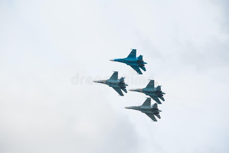 Lota grupowy falcons Rosja na Su-27 obrazy stock