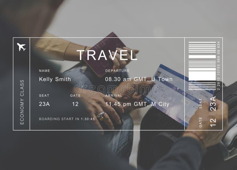 Lota szczegółu sztandar na starszym para podróżnika tle zdjęcie stock