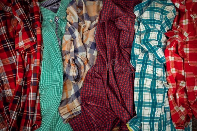 Lote de camisas de manta imagens de stock