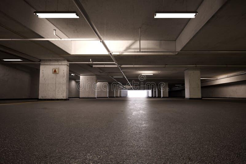 Lote de estacionamento vazio do porão fotografia de stock