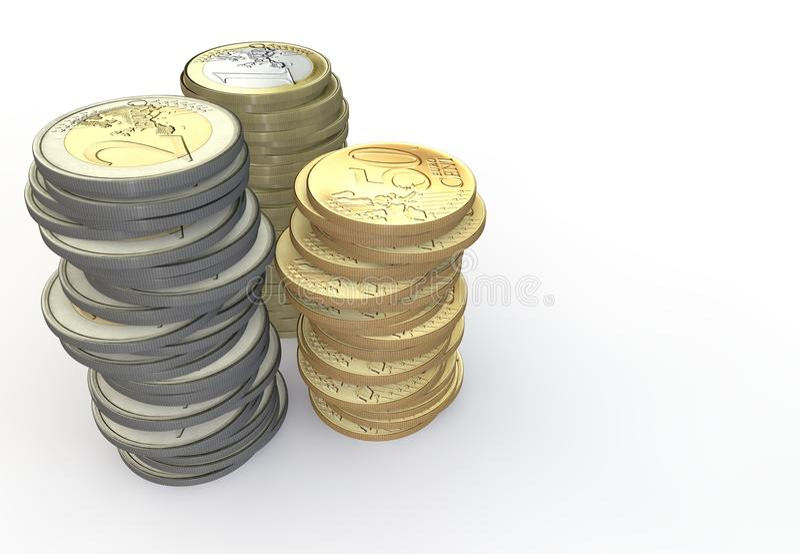 Lote de euro- moedas ilustração do vetor