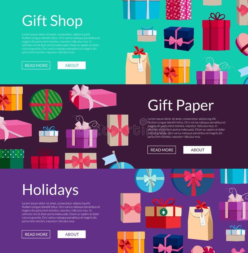 Lote do vetor das caixas de presente ou dos pacotes ilustração royalty free