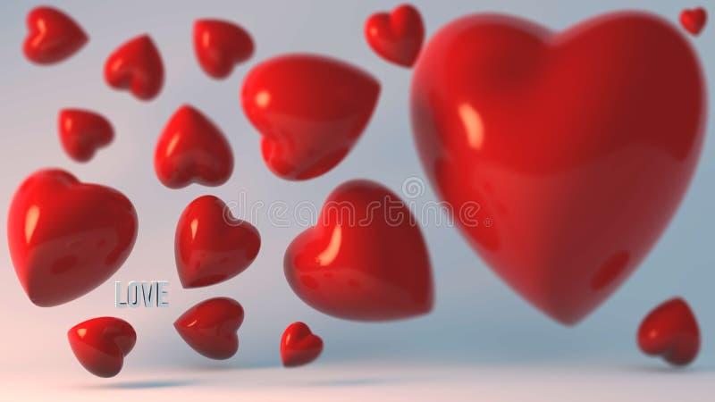 Lote dos corações 3d no fundo de turquesa imagem de stock royalty free