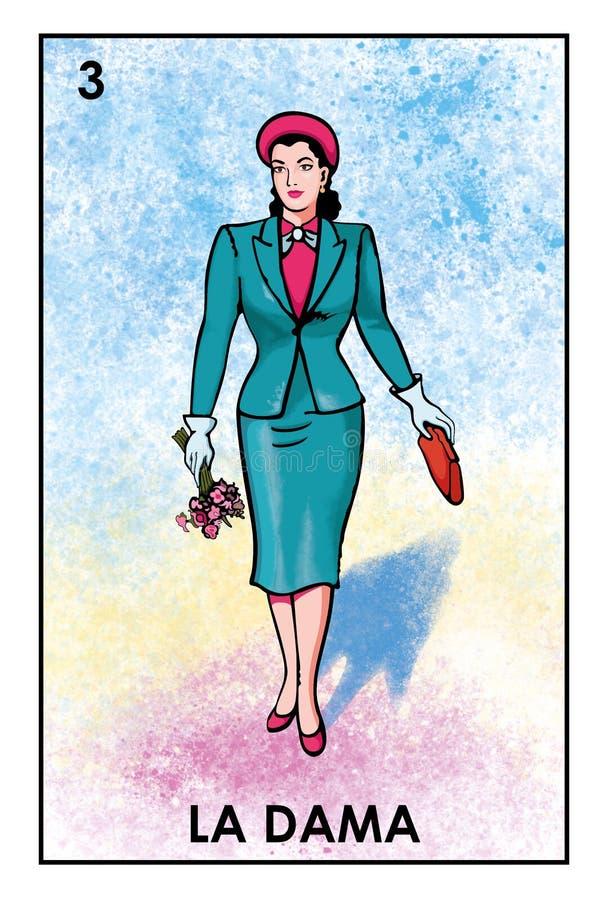 LoterÃa Mexicana - Dama de La - image de haute résolution illustration de vecteur